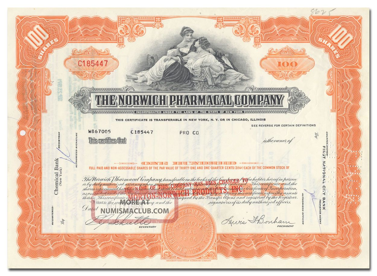Norwich Pharmacal Company Stock Certificate (pepto - Bismol) Stocks & Bonds, Scripophily photo