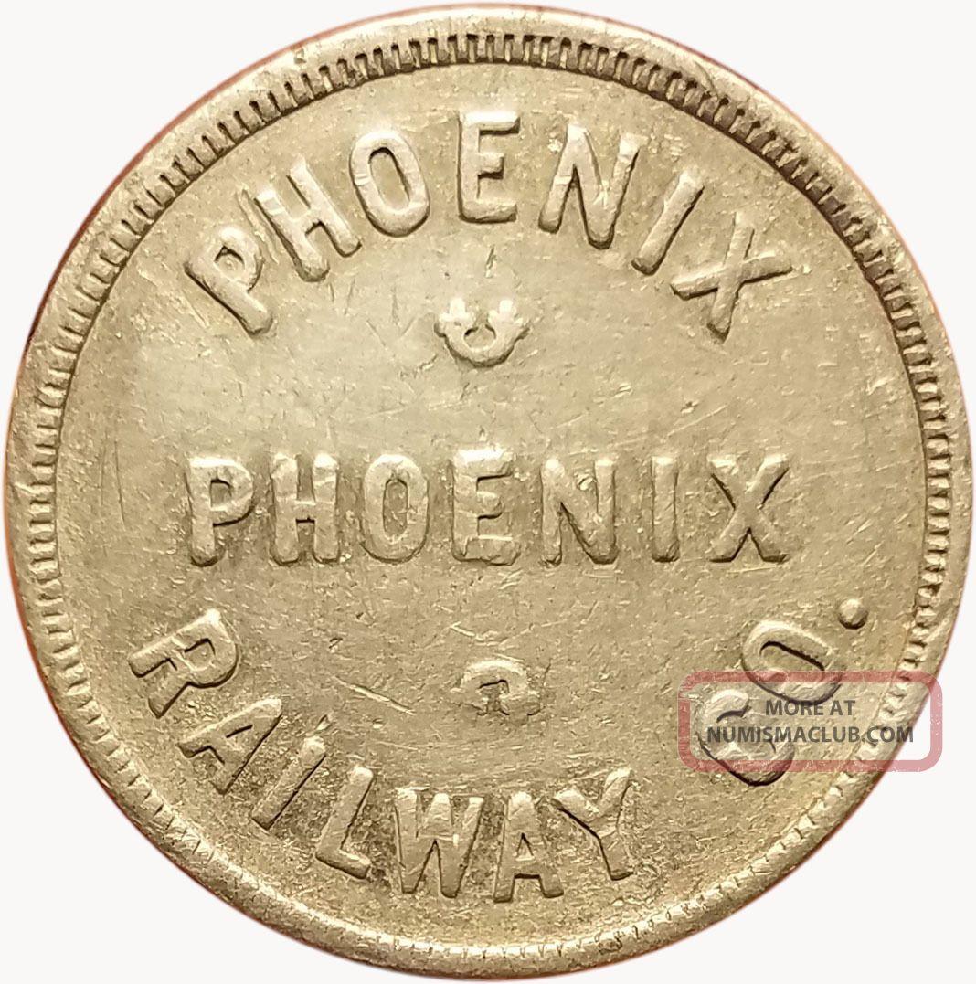 Phoenix Railway Co.  Phoenix,  Arizona Az One 5¢ Fare Transit Trade Token Exonumia photo