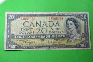 1954 Canada Note 20$ F - Vf Devil ' S Face Coyne - Towers B/e3966338.  1 Cent Un photo