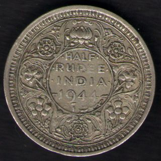 British India - 1944 - George Vi 1/2 Rupee Silver Coin Ex - Rare Coin photo