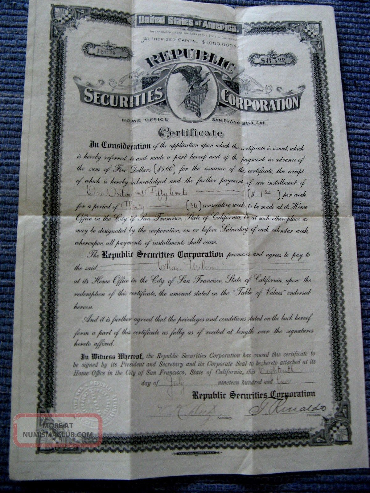1904 San Francisco Republic Securities Corp Certificate - Bond Stock Savings ? Stocks & Bonds, Scripophily photo