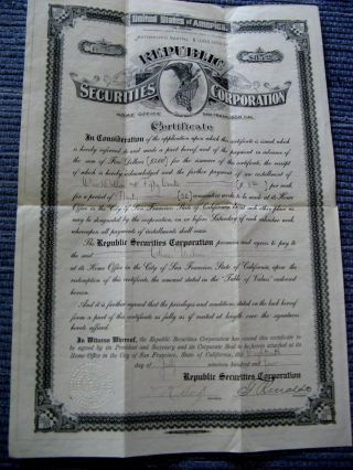1904 San Francisco Republic Securities Corp Certificate - Bond Stock Savings ? photo