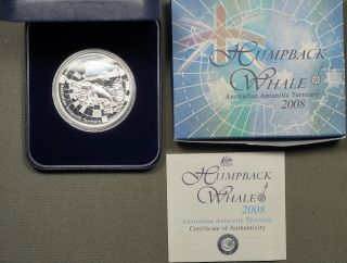 2008 Antarctic Series Humpback Whale Silver Proof Coin W/ Box & photo