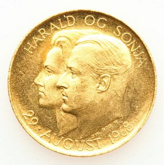 1968 Norway Olav V Marriage Gold Medal Unc Rare photo