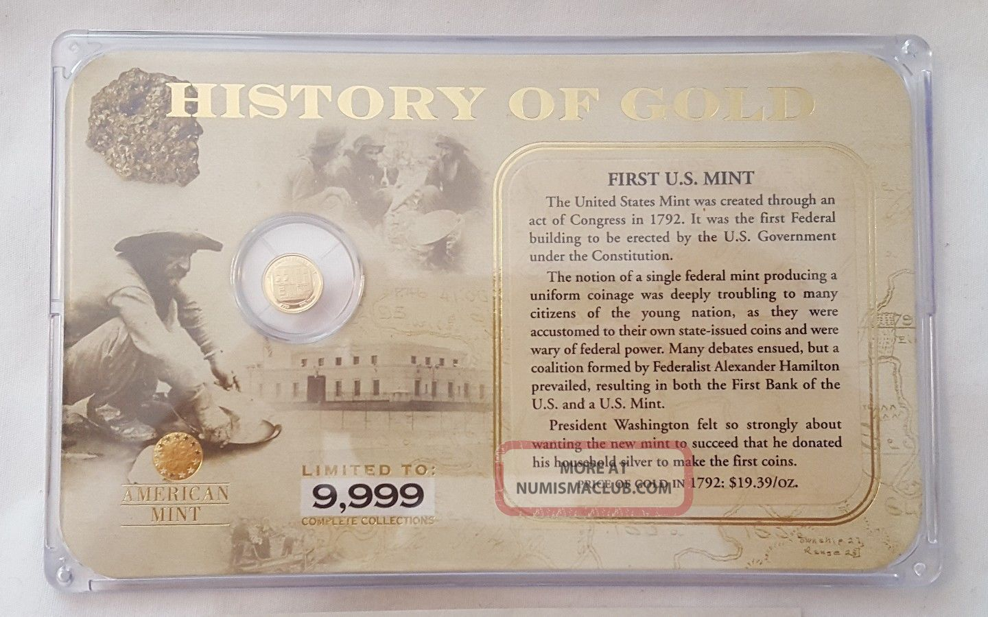 History Of Gold 14k Gold.  5g Mini Coin Fist Us 1792 In Case Commemorative photo