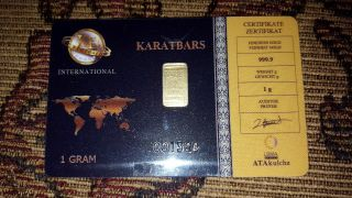 Gold Bar 1 Gram Karatbars 001326 999.  9 Fine Gold In Assay Card photo