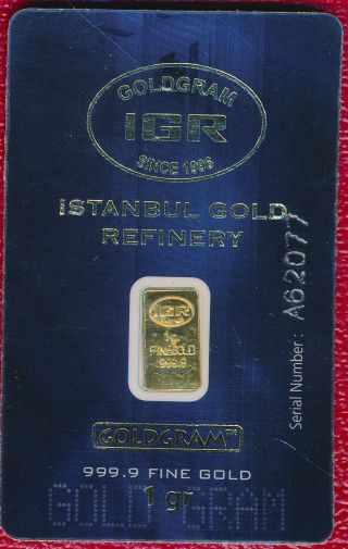 One (1) Gram 999.  9 Gold Goldram Bar With Serial Numbered Card Fabulous photo