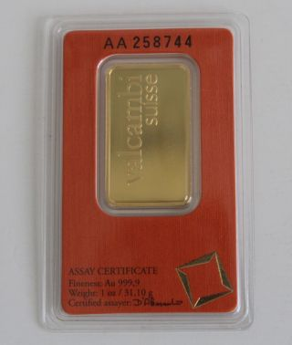 1 Oz Gold Bar Valcambi Suisse.  9999 Fine (in Assay) photo