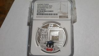2015 Canada L.  T Sylvester The Cat $20 1 Oz Fine Silver.  Ngc,  Pf 70 Ultra Cameo photo