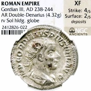 Gordian Iii Ngc Certified Xf Sol Ancient Roman Empire Silver Antoninianus Coin photo