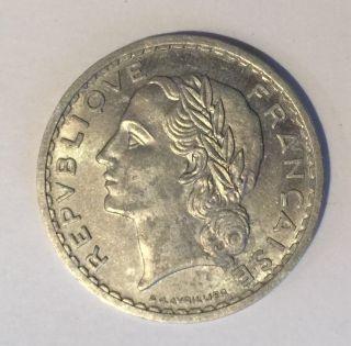 1952 France 5 Francs Km 888b.  1 Low Mintage Very 1542 photo