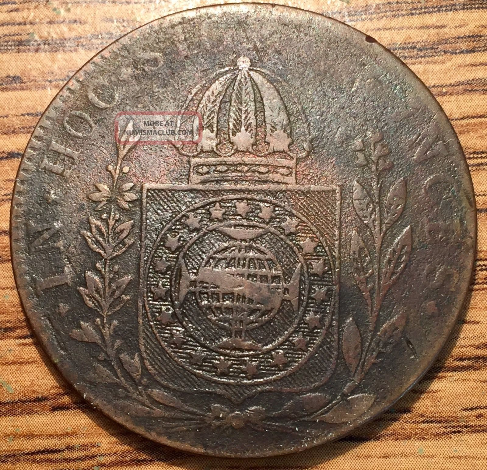 1832 R Brazil 80 Reis Pedro Ii Bronze Coin Km 379 South America photo