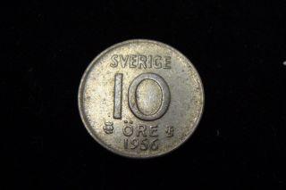 1956 Sweden Silver 10 Ore photo