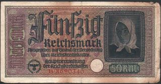 50 Reichsmark 1940 - 1945 Germany - R140,  Series: B8690340 -