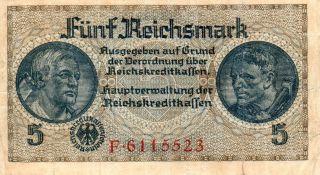 Xxx - Rare 5 Reichsmark Third Reich Nazi Banknote Ok C Print Mist 7 No photo