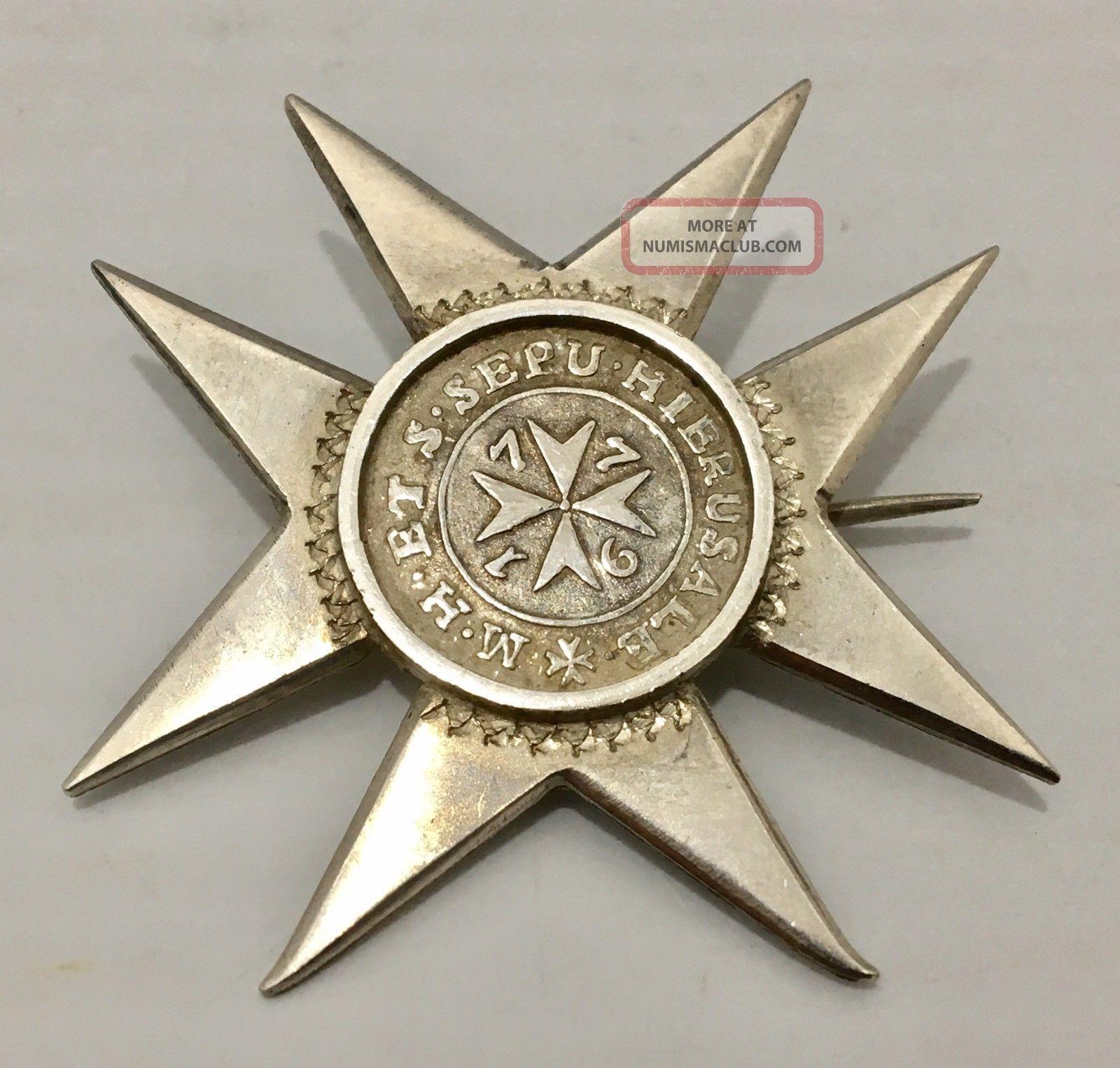Unique 1776 Malta 2 Tari Silver Coin Emmanuel De Rohan M.  Cross Star Brooch Pin Coins: World photo