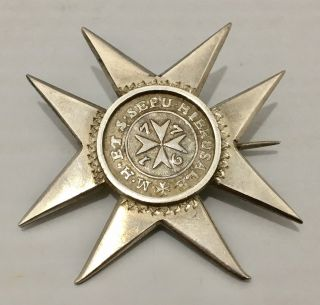 Unique 1776 Malta 2 Tari Silver Coin Emmanuel De Rohan M.  Cross Star Brooch Pin photo