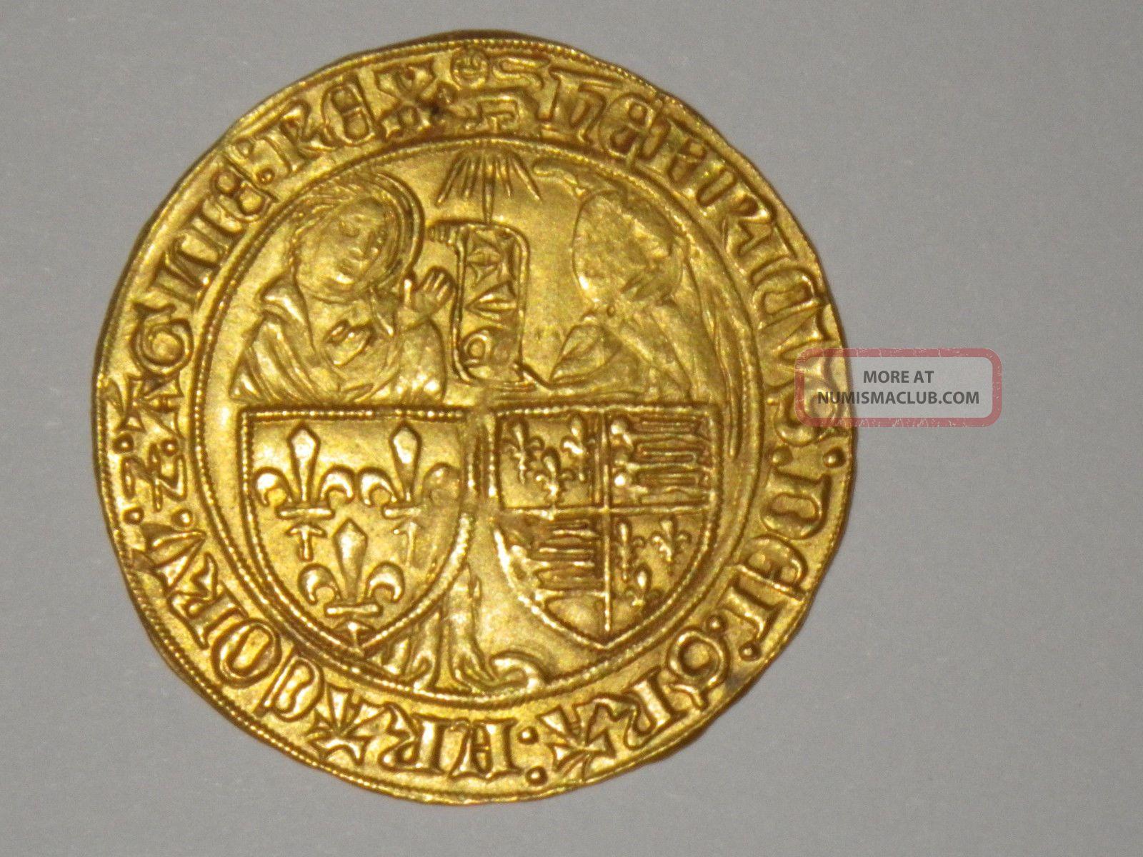 Rare & Gold Anglo - Gallic Salut D ' Or Henri Vi Rouen Mintplace 3.  48 G.  R2 Coins: Medieval photo