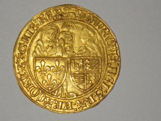 Rare & Gold Anglo - Gallic Salut D ' Or Henri Vi Rouen Mintplace 3.  48 G.  R2 photo