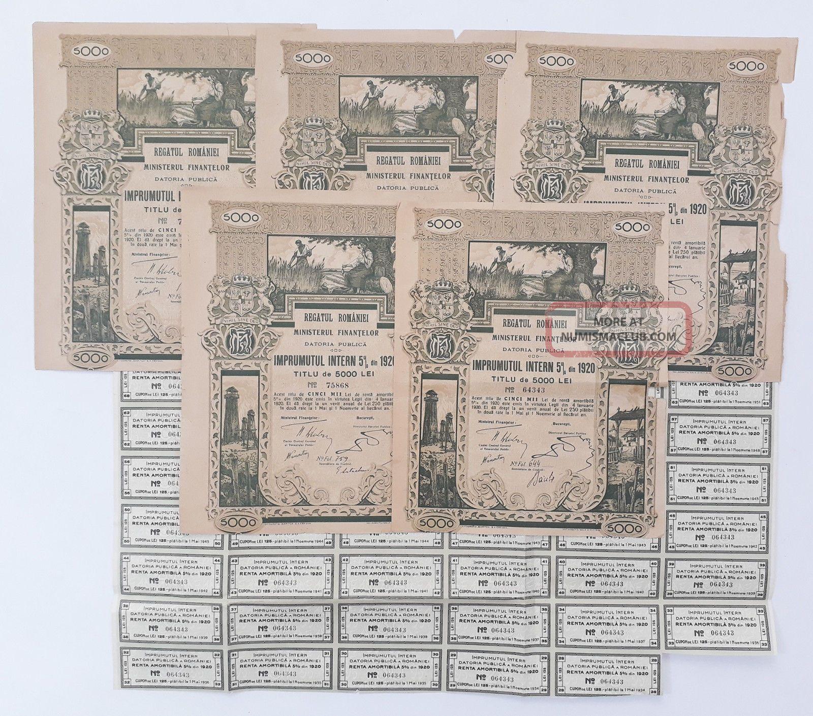 Romania 1920 - Regatul Romaniei Datoria Publica Imprumutul Intern 5 Lei 5000 (x5) Stocks & Bonds, Scripophily photo