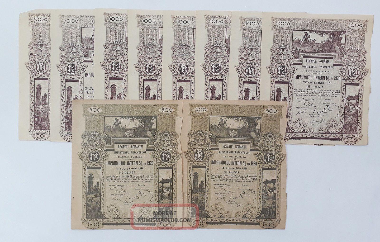 Romania 1920 - Regatul Romaniei Datoria Publica Imprumutul Intern 5 Lei 500 - 1000 World photo