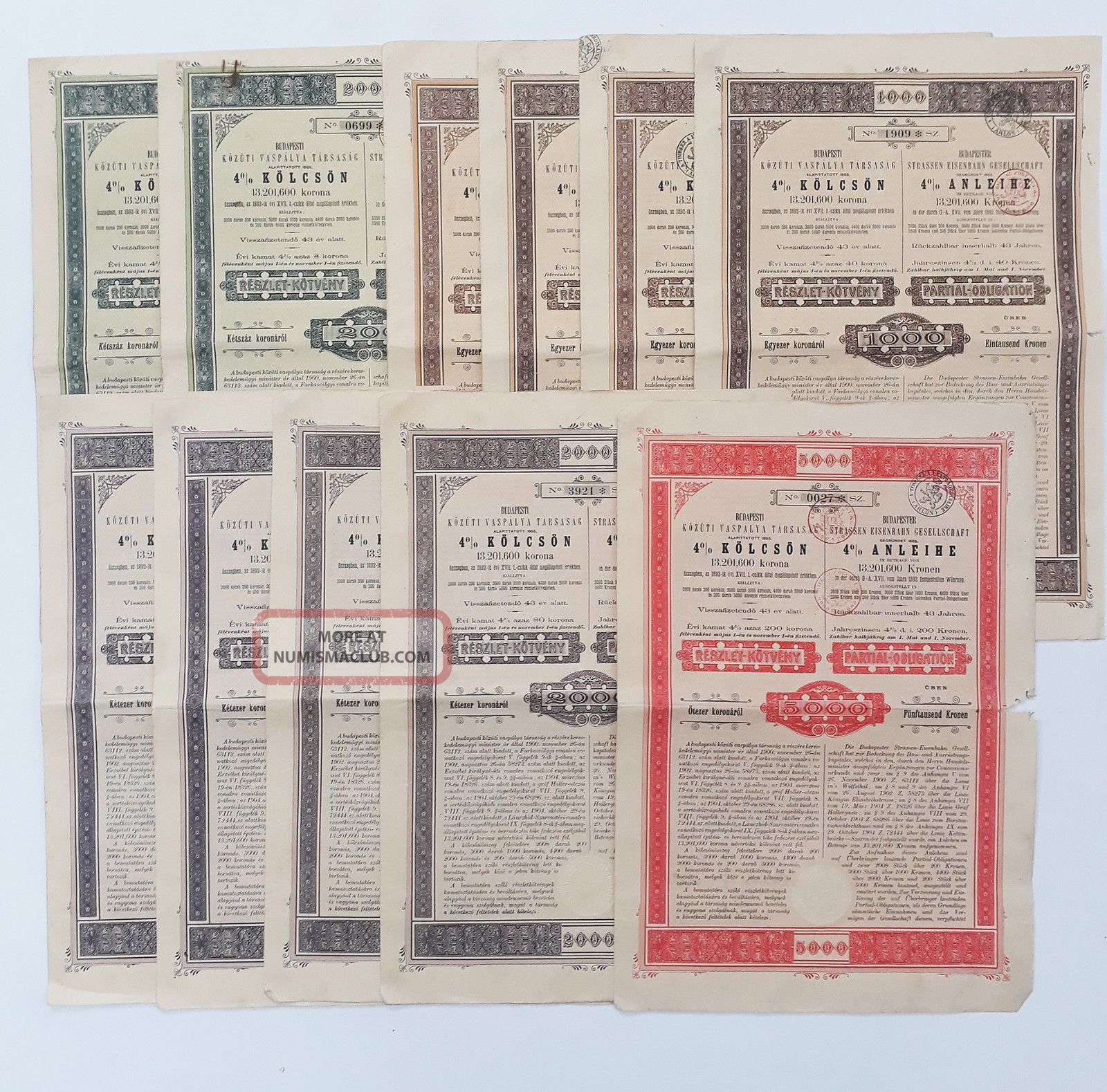Hungary 1905 - Budapester Strassen Eisenbarn Gesellschaft 4 Obligation (x11) Stocks & Bonds, Scripophily photo