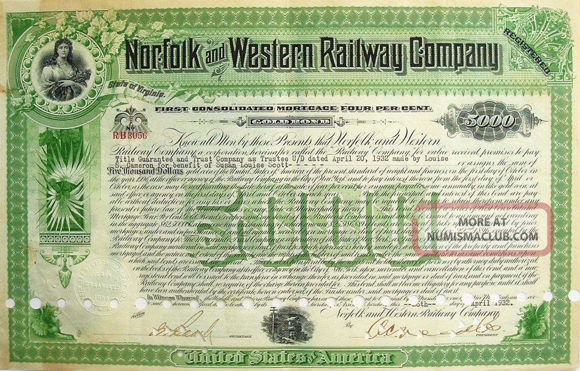 Norfolk And Western Railway Company $5000 Gold Note Mortgage Certificate - 1932 Transportation photo