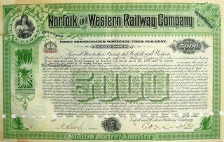 Norfolk And Western Railway Company $5000 Gold Note Mortgage Certificate - 1932 photo