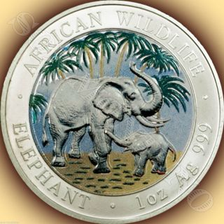 2007 Somalia African Wildlife Colorized Elephant Silver Coin Hard Date To Find photo