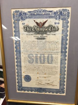 1915 Rare Olympic Club Bond Certificate photo