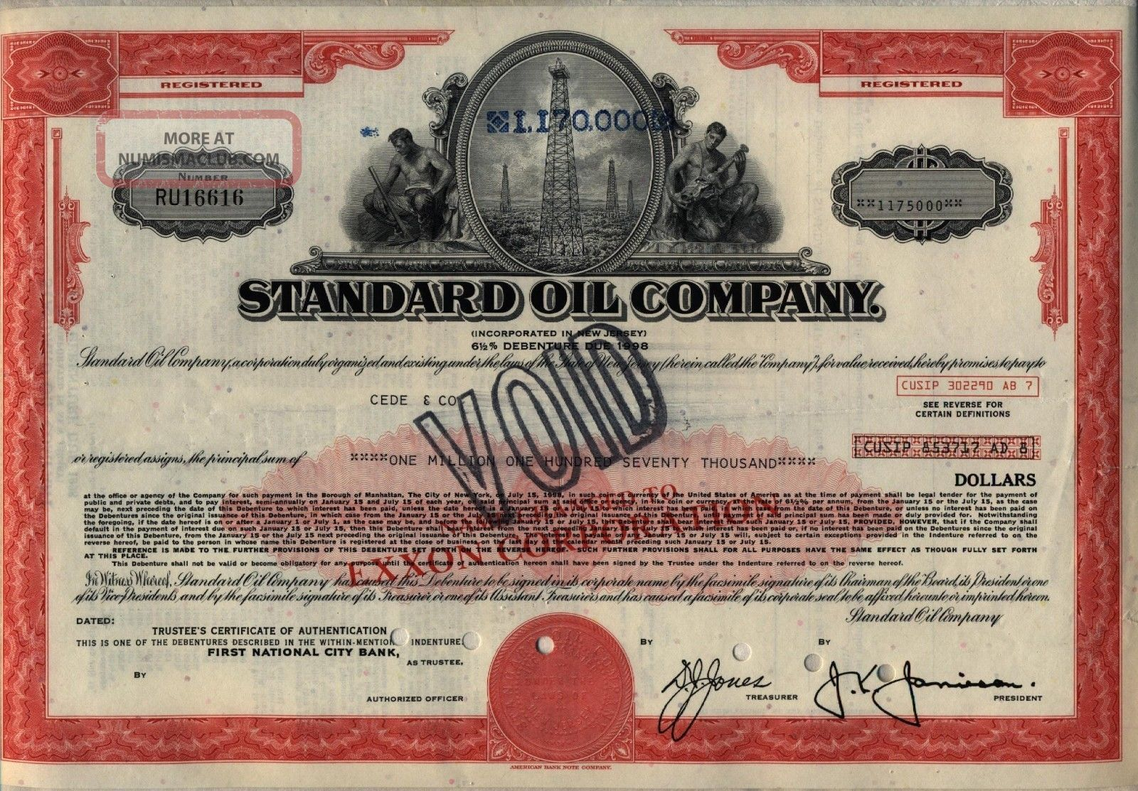 $1,  170,  000 Standard Oil Company Bond Stock Certificate Exxon Stocks & Bonds, Scripophily photo