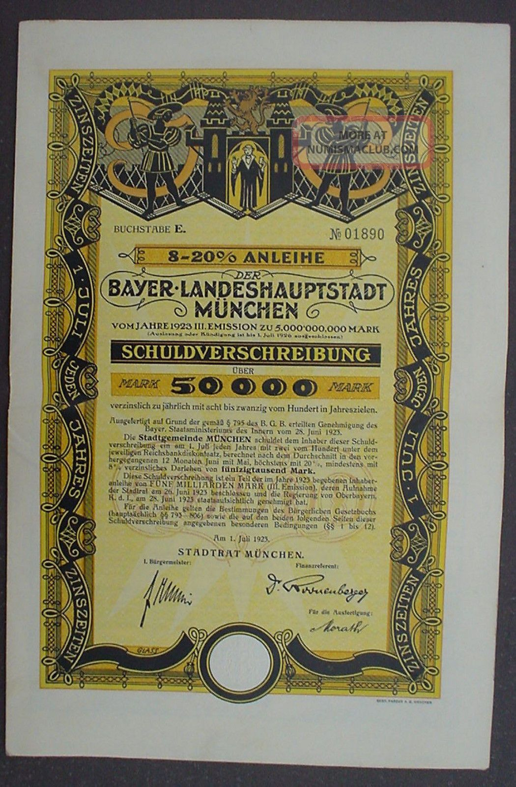 City Of Munich 50000 Mark 8 - 20 Bond To Bearer Uncacelled,  Complete Coupon Sheet Stocks & Bonds, Scripophily photo