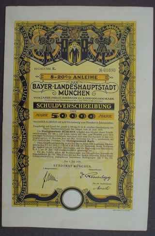 City Of Munich 50000 Mark 8 - 20 Bond To Bearer Uncacelled,  Complete Coupon Sheet photo