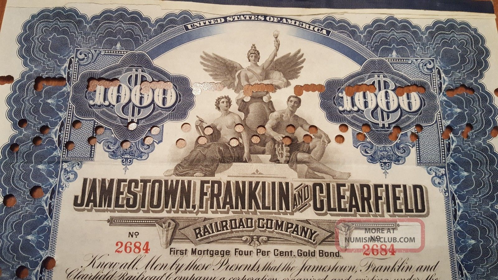 Jamestown,  Franklin & Clearfield Railroad Bond Stock Certificate N.  Y Central Transportation photo