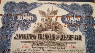 Jamestown,  Franklin & Clearfield Railroad Bond Stock Certificate N.  Y Central photo