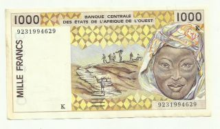 West African States 1.  000 Francs 1992 9231994629 Circulated Banknote photo