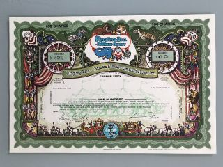 1969 Ringling Bros Barnum Bailey Specimen Stock Certificate Uncirculated Green photo