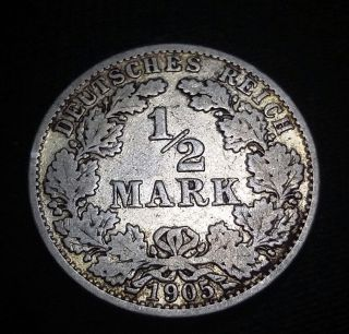 Empire Of Germany 1905 A - 1/2 Mark Silver Coin - Berlin - First Mintage photo
