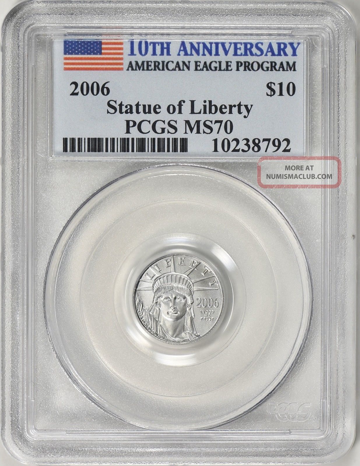 2006 $10 Tenth - Ounce Platinum American Eagle 10th Anniversary Pcgs Ms - 70 Coin Platinum photo