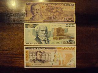 1985 5000pesos,  1989 2000pesos Mexico Note/billete De 5000pesos photo
