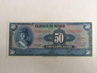 50 Peso Mexico Banknote 1972 Unc.  Allende Abnc Bgn photo