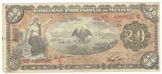 Mexico S1110a Gobierno Provisional De Mexico Veracruz 20 Pesos Olive Underprint photo