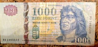 2009 Budapest Hungary 1000 Ezer Forint Bank Note Magyar Nemzeti Bank Foil Strip photo