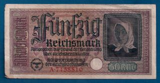 Ww2 German Occupied Territories 50 Reichsmark 1940 - 45 R - 140 Nazi Germany photo