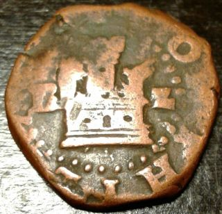 ☆rare Pirate Spanish Copper Reale Cob Coin Of King Philip☆ Pirate Blackbeard photo