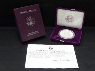 1993 - P American 1 Oz.  Proof Silver Eagle Dollar Coin W/ Box & Papers photo