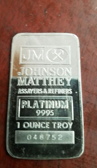 1 Oz Platinum Bar Johnson Matthey photo
