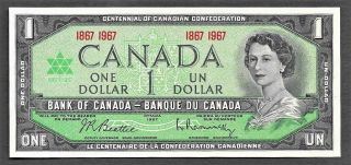 1967 Canada One Dollar Bill,  Bank Note,  Currency,  Paper Money Uncirculated photo