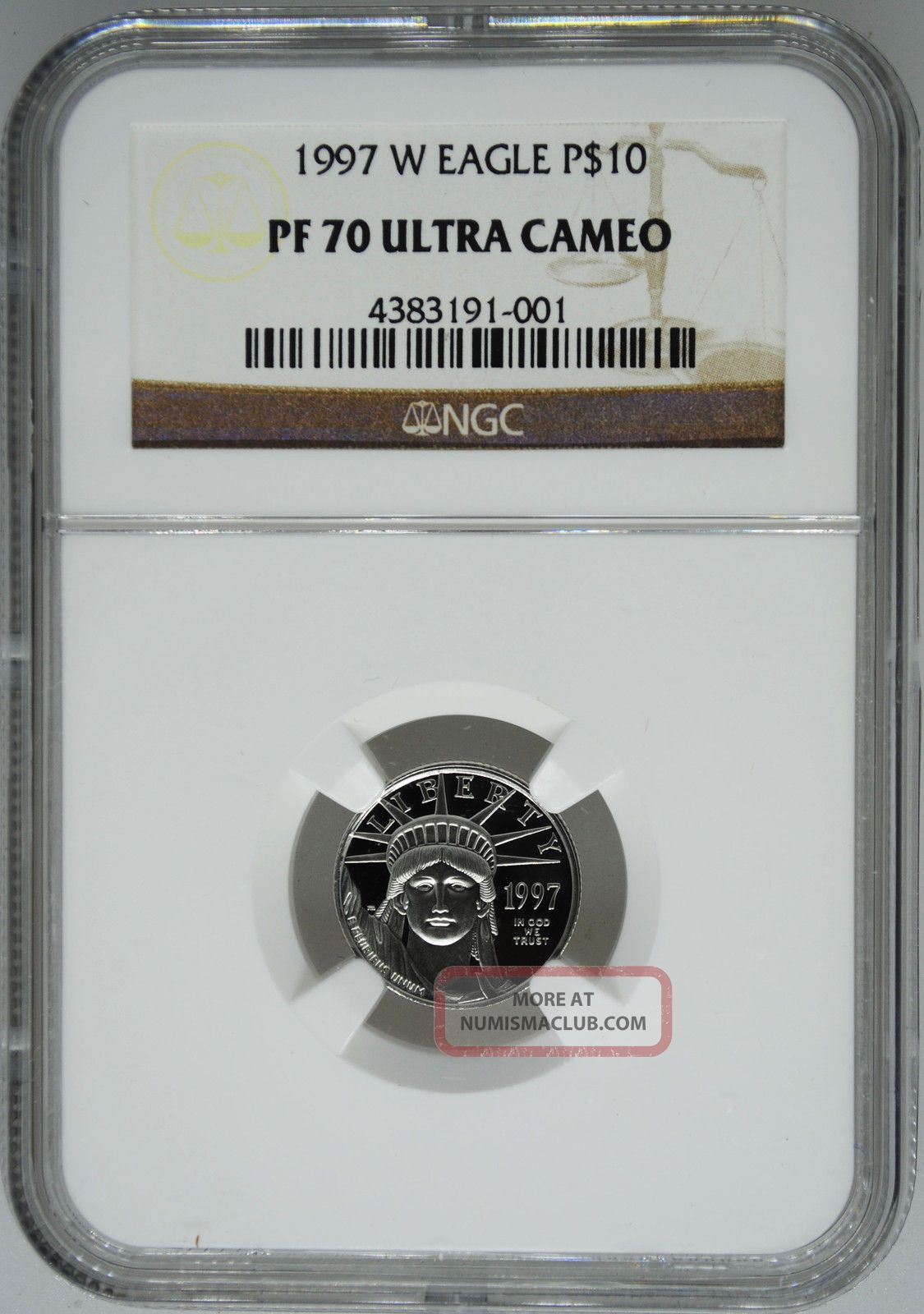 1997 - W Ngc Pf70 1/10 Oz Proof Platinum Eagle $10 Platinum photo