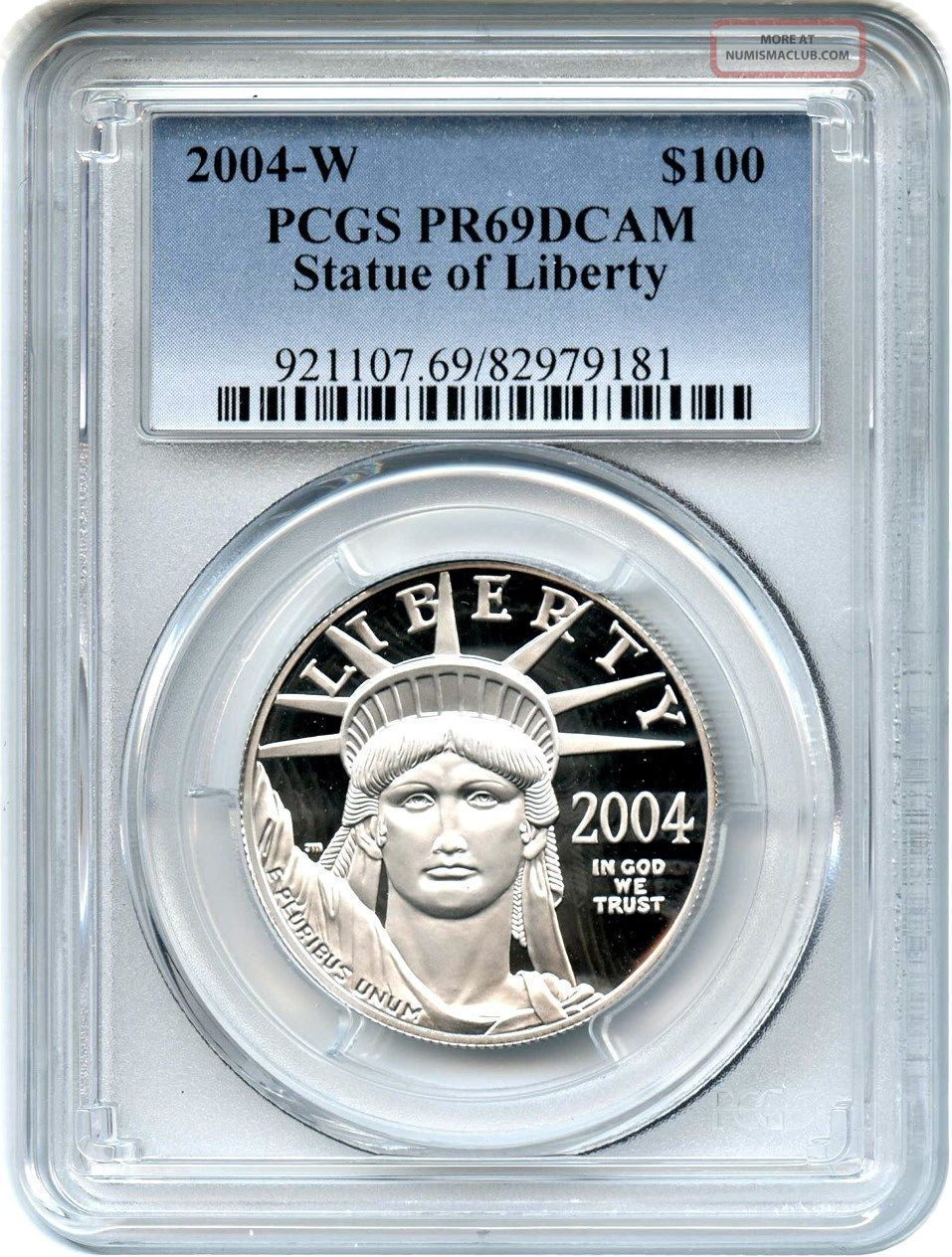 2004 - W Platinum Eagle $100 Pcgs Pr 69 Dcam - Statue Liberty 1 Oz Platinum photo
